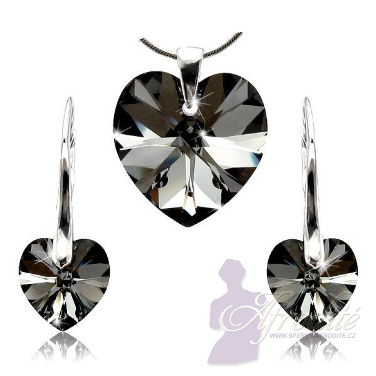Sada šperků SWAROVSKI Elements Heart black diamond