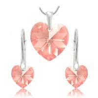 Sada šperků SWAROVSKI Elements Heart srdce - light rose