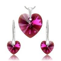 sada šperků SWAROVSKI Elements Heart srdce - fuchsia