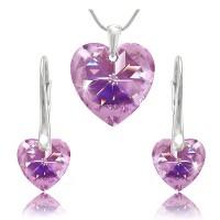 sada šperků SWAROVSKI Elements Heart srdce - violet