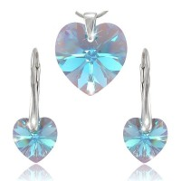 Sada šperků SWAROVSKI Elements Heart srdce - aqua.