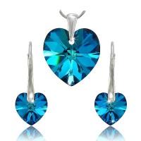 sada šperků SWAROVSKI Elements Heart - bermuda blue