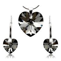Sada šperků SWAROVSKI Elements Heart black diamond