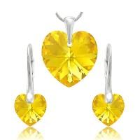 sada šperků SWAROVSKI Elements Heart srdce - light topaz