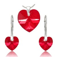 sada šperků SWAROVSKI Elements Heart srdce - siam