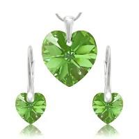 sada šperků SWAROVSKI Elements Heart srdce - peridot zelená