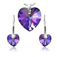 sada šperků SWAROVSKI Elements Heart srdce - heliotrope modrofialová